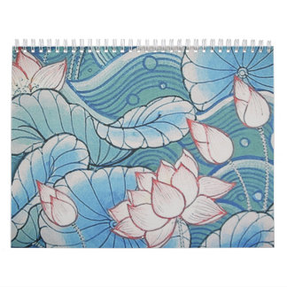 Chinoiserie Pastel Oriental Pink & Blue Floral Calendar
