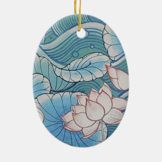 Chinoiserie Pastel Oriental Pink & Blue Floral Christmas Ornament