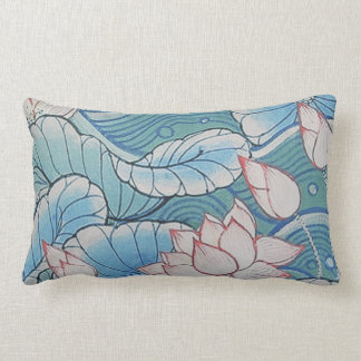 Chinoiserie Pastel Oriental Pink & Blue Floral Pillow