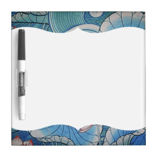 Chinoiserie Pastel Oriental Pink & Blue Floral Dry-Erase Whiteboard