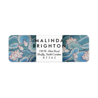 Chinoiserie Pastel Oriental Pink & Blue Floral Return Address Label
