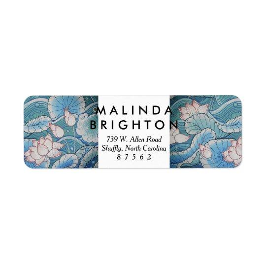 Chinoiserie Pastel Oriental Pink & Blue Floral Return Address Label