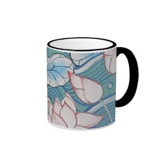 Chinoiserie Pastel Oriental Pink & Blue Floral Ringer Mug