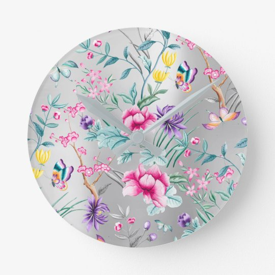 Chinoiserie Pink Floral Silver Blue Butterfly Round Clock