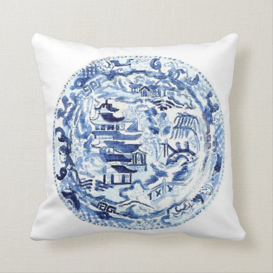 CHINOISERIE PLATE PILLOW BLUE/WHITE