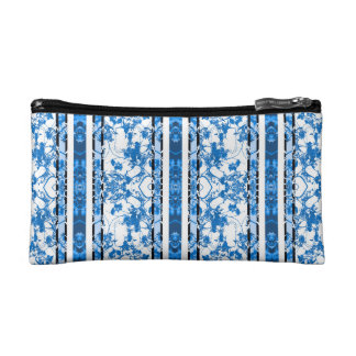 Chinoiserie Striped Floral Print Cosmetic Bags