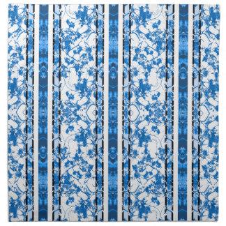 Chinoiserie Striped Floral Print Cloth Napkin