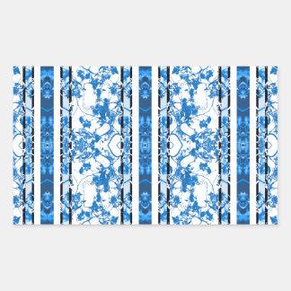 Chinoiserie Striped Floral Print Rectangular Sticker