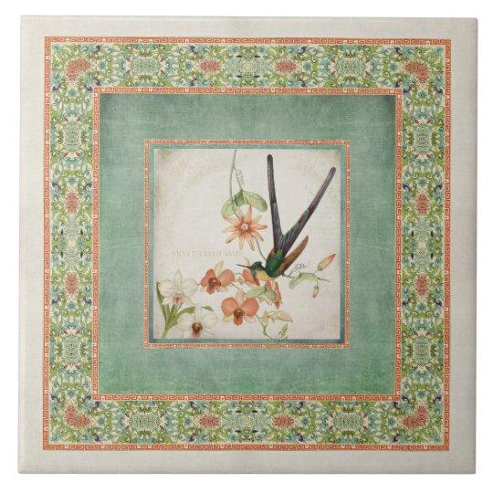 Chinoiserie Vintage Hummingbirds n Flowers Coral Tile