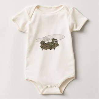 Chinook Camouflage Helicopter Cartoon Baby Bodysuit