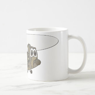 Chinook Camouflage Helicopter Cartoon Coffee Mug