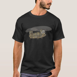 Chinook Camouflage Helicopter Cartoon T-Shirt