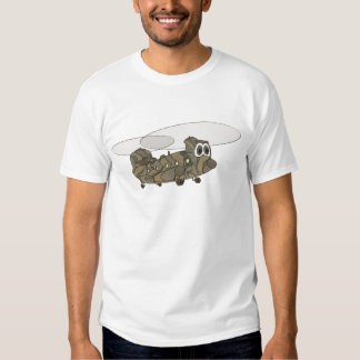Chinook Camouflage Helicopter Cartoon Tee Shirts