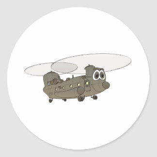 Chinook Helicopter Cartoon Classic Round Sticker