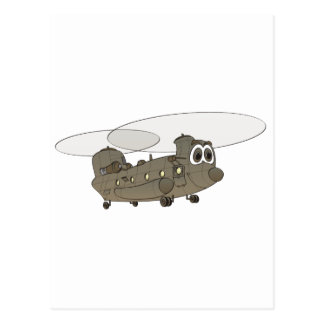 Chinook Helicopter Cartoon Postcard