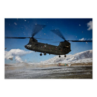 Chinook Helicopter in Snow Poster