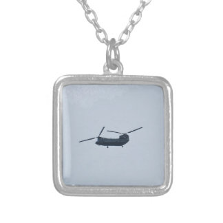 Chinook Helicopter Silver Plated Necklace