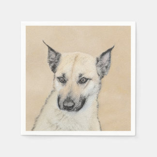 Chinook (Pointed Ears) Painting - Original Dog Art Disposable Napkin
