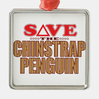 Chinstrap Penguin Save Silver-Colored Square Decoration
