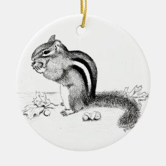 Chipmunk and Acorns Christmas Ornament