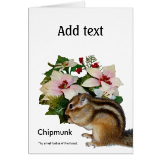 Chipmunk and flower (pohto) type-4 greeting card
