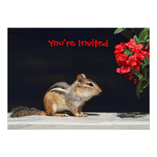 Chipmunk and Red Flowers Photo Invite