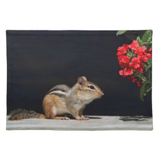 Chipmunk and Red Flowers Photo Placemat