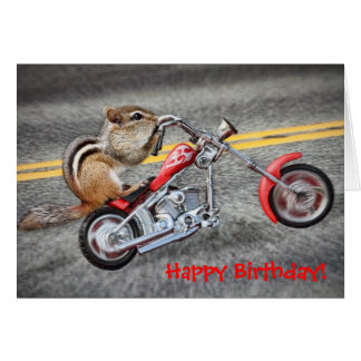 Chipmunk Biker Riding a Motorcycle Card