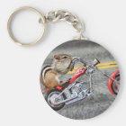Chipmunk Biker Riding a Motorcycle Key Ring