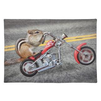 Chipmunk Biker Riding a Motorcycle Placemat