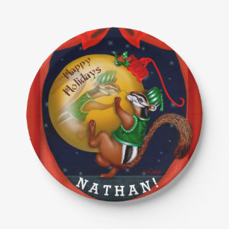"CHIPMUNK CHRISTMAS CARTOON Paper Plates 7"" 7 Inch Paper Plate"