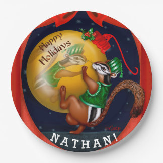 "CHIPMUNK CHRISTMAS CARTOON Paper Plates 9"" 9 Inch Paper Plate"