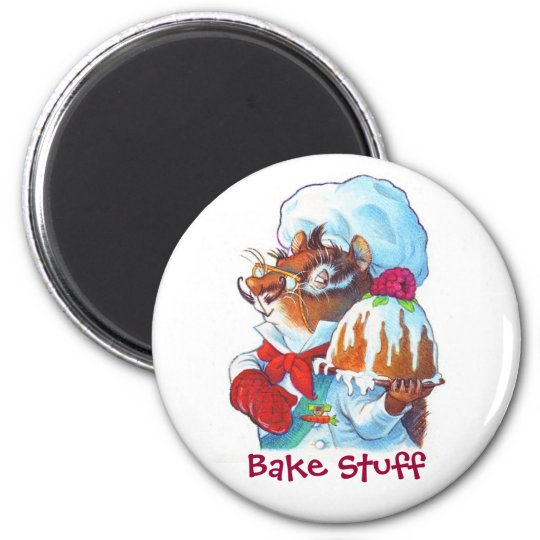 Chipmunk Dessert Chef 6 Cm Round Magnet