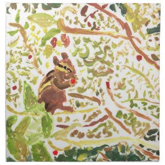 Chipmunk eating a berry cloth napkins