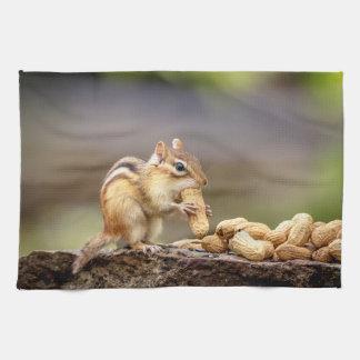 Chipmunk eating a peanut tea towel