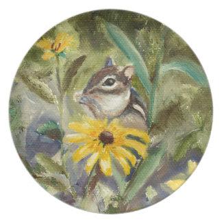 Chipmunk In the Garden Plates