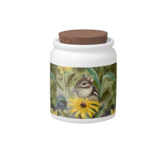 Chipmunk In the Garden Candy Jars