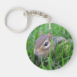 Chipmunk In The Grass Double-Sided Round Acrylic Key Ring