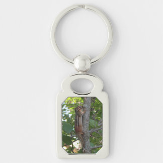 Chipmunk in the Woods Silver-Colored Rectangle Key Ring