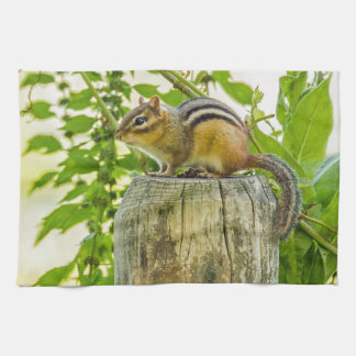Chipmunk on a Fence Post Facing Left Kitchen Towel