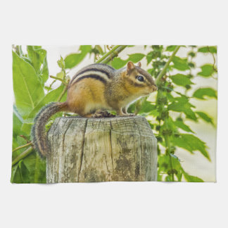 Chipmunk on a Fence Post Towel