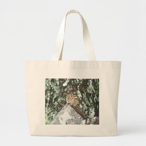 Chipmunk On A Log Canvas Bag