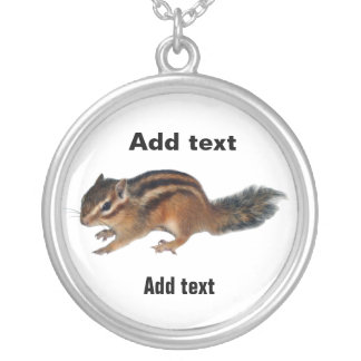 Chipmunk photo (31) silver plated necklace