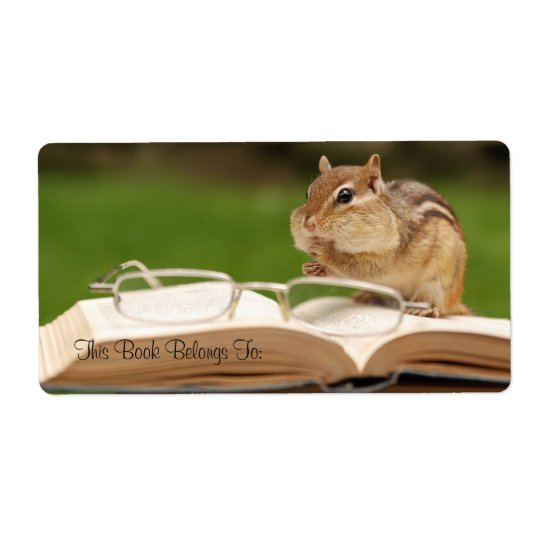Chipmunk reading bookplate shipping label
