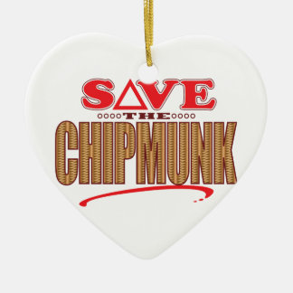 Chipmunk Save Ceramic Heart Decoration