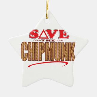 Chipmunk Save Ceramic Star Decoration