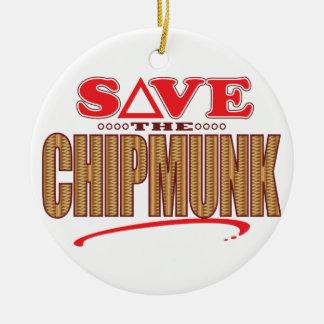 Chipmunk Save Round Ceramic Decoration