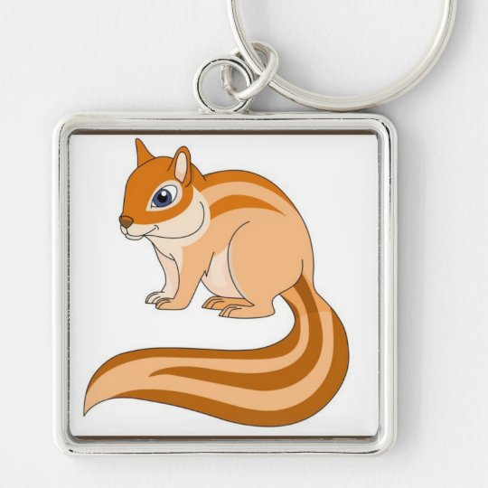 Chipmunk Silver-Colored Square Key Ring