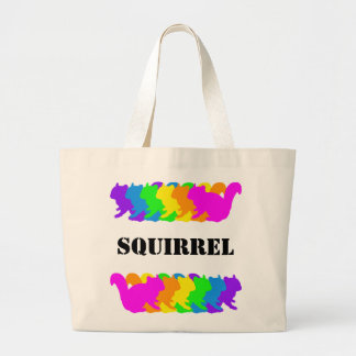 Chipmunk, squirrel and illustration (Colorful) Large Tote Bag