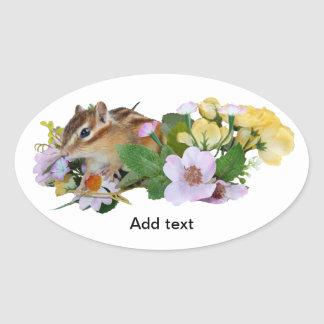 chipmunk , Squirrel ,  photo Oval Sticker